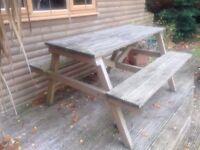 Garden pub picnic bench, outdoor table and chair patio set wooden bench garden seating decking