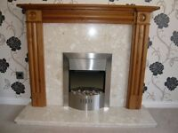 Pine Fire Surround and Hearth (with stainless steel electric Fire)