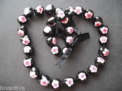 Kukui Nut Lei Plumeria Red Pink with White Dashes Necklace Hawaiian Graduation