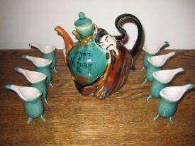 Unusual Vintage Glazed Majolica Asian Teapot/Sake/Wine.