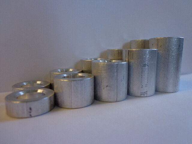 Round Spacer, Alum, 3/8 I.d., 3/4 o.d. x Variety, Pk 10 Made in U.S.A.