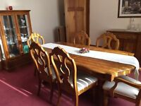 Beautiful Pecan , Dining Table, 4 Chairs, 2 Carvers, Sideboard, Curio Cabinet and wine cabinet