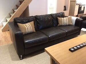 ItalSofa 3 seater brown full leather couch London Ontario image 1