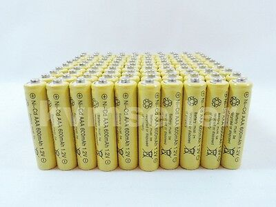 100 pcs Rechargeable NiCd AAA 600mAh Ni-Cad Batteries for Solar Light    (600mah Nicad)