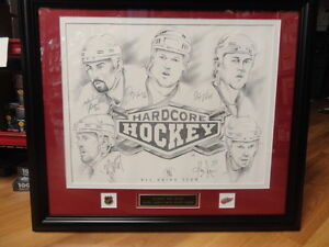 16x20 Framed ltd ed. Lithograph 5 Autos-Red Wings All Grind Team