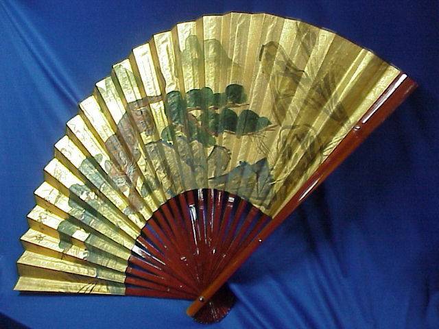 "NEW Oriental Asian Painted Paper Wall Fan Bengal TIGER SIGNED 34"" expands 54"""