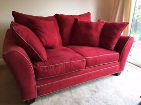 Large Red 2-Seater Sofa with Stone Colour Trim - Good Condition & Very Comfy!