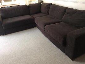 Corner sofa with sofa bed - black, six seater, plus storage