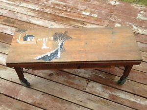 Antique Washing Tub bench - Folk Art style painting on top