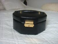 Black leather small jewellery case/box with compartments 2 tier 160x160x80cm