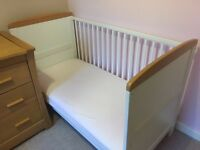 Mothercare Cot Bed in excellent condition - white with oak - £100