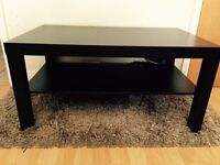 Ikea coffee table with matching side table, black-brown