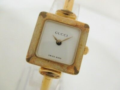 Auth GUCCI 1900L Gold White Hardware Women