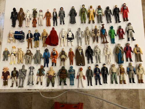 60+ Vintage Star Wars Figures W/ Lukes ,Leis. Solos, Ewoks Droids  (No Dupes)