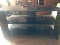 Black TV Stand with Glass shelves