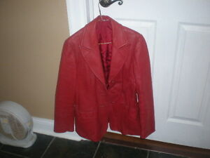 Womans Red Leather Jacket Medium