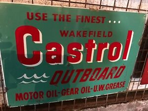 Wakefield Castrol Outboard Motor Oil vintage 1950's sign