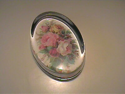 VINTAGE FLORAL GLASS PAPER WEIGHT WITH GREEN FELT BOTTOM Green Floral Glass