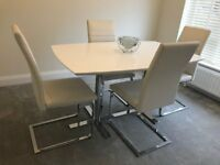 Modern white gloss kitchen/dining table and 4 chairs