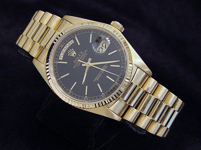 Rolex Day-date President 18038 Men 18k Yellow Gold Watch Black Dial Fluted Bezel
