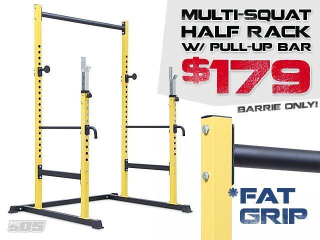 Half rack with pull up bar multi squat racks power for Squat rack with pull up bar