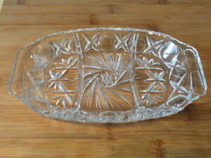 Pinwheel Crystal 3 Compartment Relish Pickle Serving Dish Tray