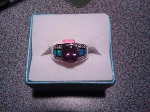 BRAND NEW 925 STERLING SILVER SIZE 8 AMETHYST, OPAL & TOPAZ RING