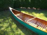15' traditional canvas & wood square stern canoe, circa mid-1950