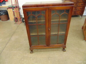WALNUT BOOKCASE OR CHINA CABINET CLAW FOOT