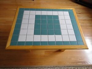 Handmade solid wooden tile mosaic coffee table