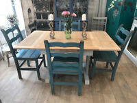 Shabby chic extendable dining table and four John Lewis chairs