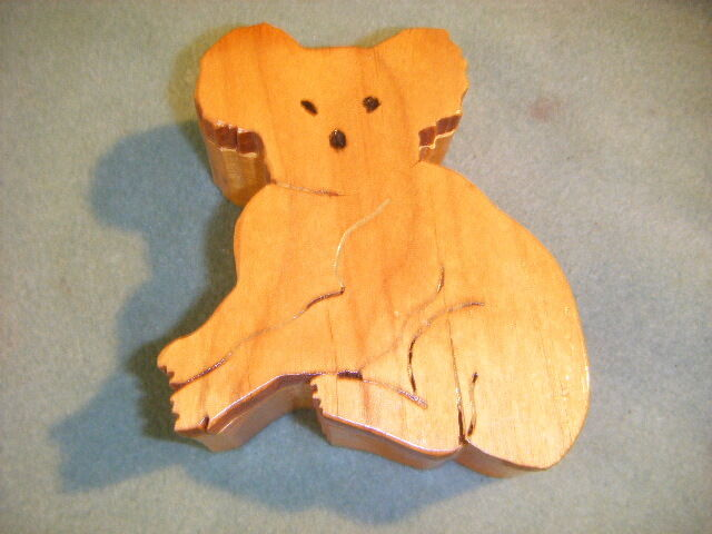 KOALA BEAR BOX SHAPED WOODEN BOX ALDER WOOD  WOOD