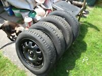 Tyres on wheels x 6, size 155/65 x 14 inch, four with excellent tread and condition 6-7mm