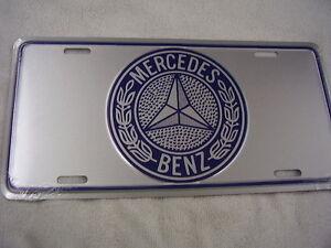 Mercedes benz license plate silver an blue no longer made for Mercedes benz vanity license plates