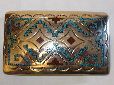 VTG Navajo Signed Sterling Silver Turquoise Coral Chip Inlay Belt Buckle