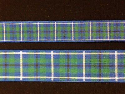 Blue, Green and White 'Douglas' Tartan Ribbon 3 metres Douglas Tartan Ribbon