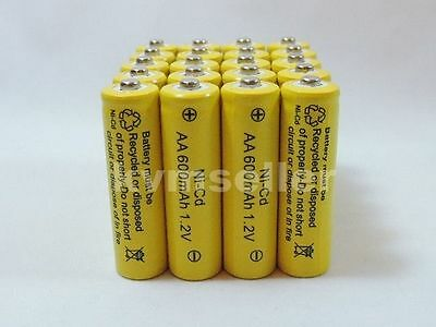 24 AA Rechargeable Batteries NiCd 600mAh 1.2v Garden Solar Ni-Cd Light  A24