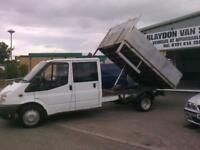 NO VAT..2007 07 Ford Transit 2.4TDCi double cab ( 100PS ) 350 LWB tipper