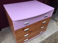 Pine chest of drawers with coloured drawer and top
