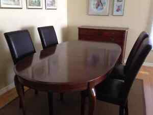 cherry wood dining table and chairs