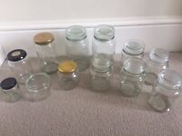 2 large and 5 smaller storage glass jars and 5 Jam Jars, Collect from Fulham