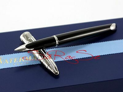 WATERMAN CARENE FOUNTAIN PEN BLACK LACQUER GUNMETAL 18 KT FEATHER