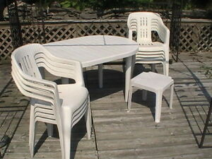 Table and Chair Set, White PVC Table and Chairs Patio