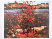"Tom Thomson ""Lake and Red Tree 1916"" Framed L/Edition Print"
