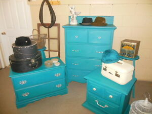 antique dresser, nightstands, stools, etc. painted,  teal London Ontario image 2