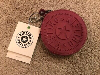 Kipling Marguerite Zip Pouch Coin Purse with Clip - Fig Purple - NWT!