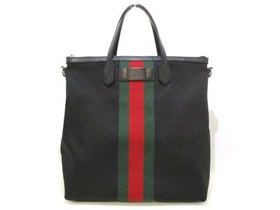 Auth GUCCI Shelly 368559 Black Green Red Canvas &  Leather Handbag w/Box