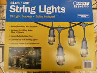 OUTDOOR/INDOOR STRING LIGHTS 14.6 METRE(48FT)24 LIGHT SOCKETS 15W WITH BULBS&12 SPARE COMMERCIAL