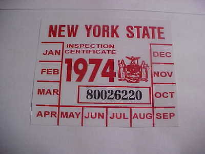 new york 1974 registration inspection sticker windshild