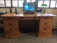 Office desk (wood) and chair for sale.